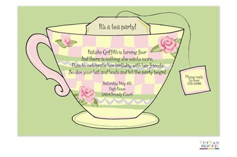 Tea Party Invitations For Children Teacup Invitations Template