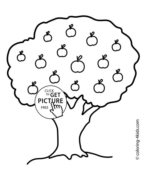 Nature Apple Tree Coloring Page For Kids Printable Free Apple Tree Coloring Page
