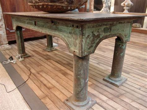 Pair Armchairs Steel Industrial Table With Original Green Patina Sold