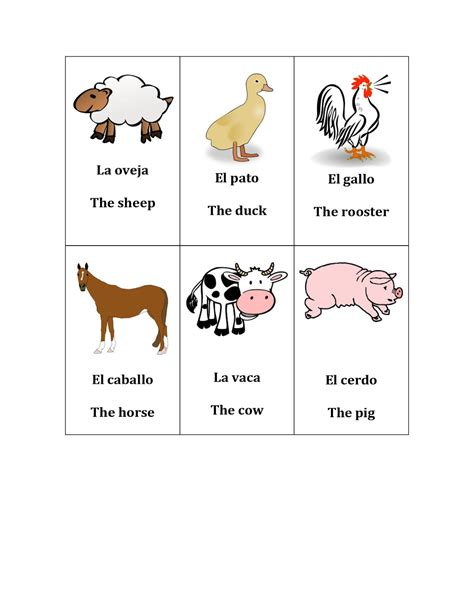 free printable spanish flashcards for toddlers best photos of farm animals flash cards kids flash cards
