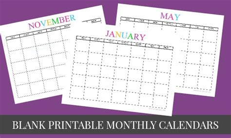 printable blank monthly calendars      mommy