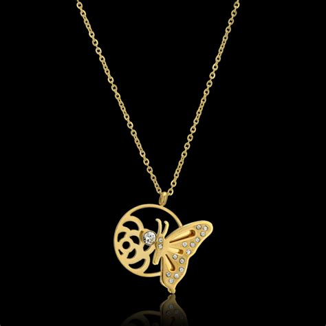 2015 Brand Necklace Gold Plated butterfly pendant necklace brand new trendy 18k real gold plated top brand luxury jewelry