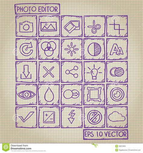 free editing doodle photo editor icon doodle set stock vector image 38912855