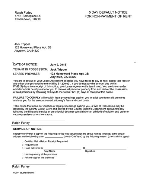 Lease Default Letter Template Arkansas 5 Day Notice Of Default For Non Payment Of Rent