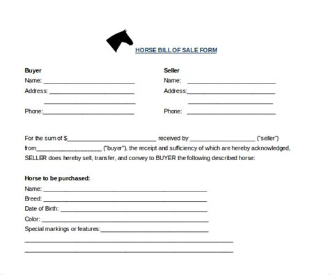 sle horse bill of sale forms 7 free documents in pdf