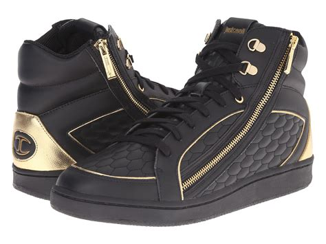 just for shoes just cavalli quilted nappa metallic leather high top in
