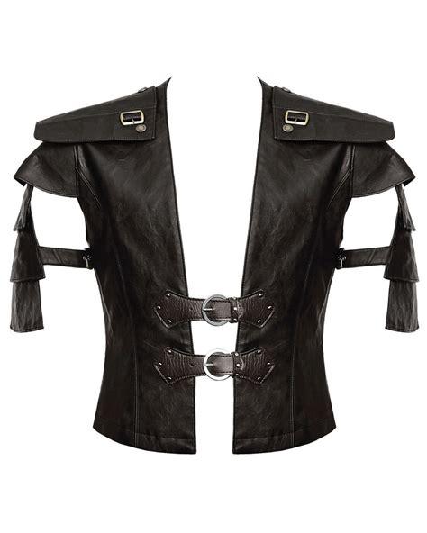 Punk Rave Mens Vest Waistcoat Brown Faux Leather Goth