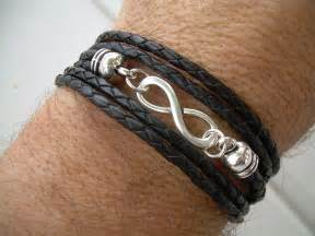 Leather Infinity Bracelet Black Braided Leather Bracelet Infinity 2014