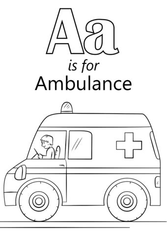 letter a is for ambulance coloring page free printable
