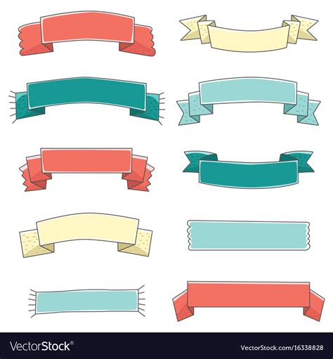 small ribbon banner cute set hand drawn royalty  vector