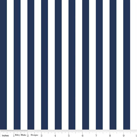 White Strif Navy navy and white striped fabric from designs half
