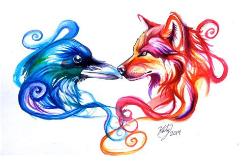 ice raven and fire wolf tattoo by lucky978 on deviantart