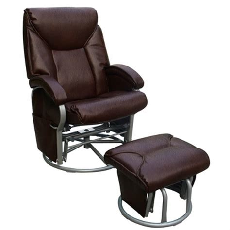 leather glider recliner with ottoman dezmo push back recliner bonded leather swivel glider with