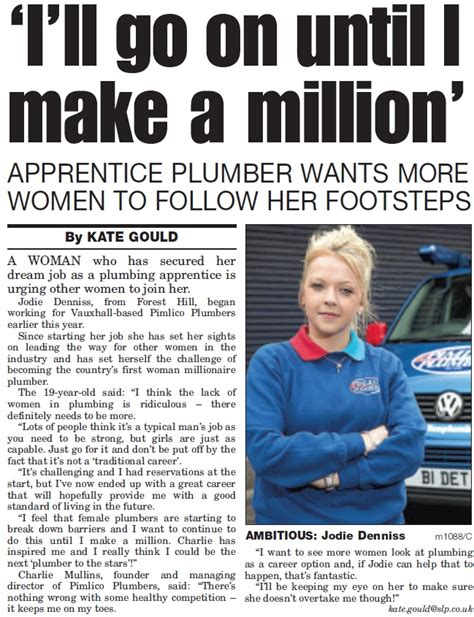 How To Become A Plumbing Apprentice by Pimlico Apprentice Jodie Sets Challenge To Become