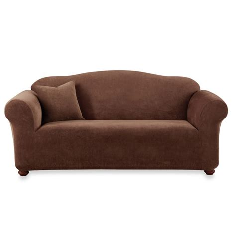 bed bath and beyond sofa slipcovers sure fit 174 stretch sterling chocolate sofa slipcover bed