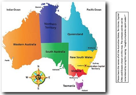 australia map with country names and capitals the australian states territories and capital cities map