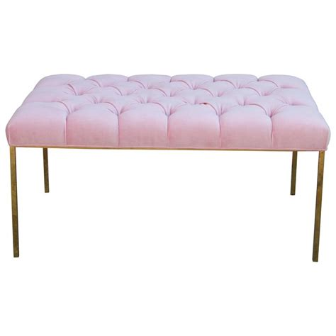 pink tufted bench modern rectangular bench with a brass frame in tufted