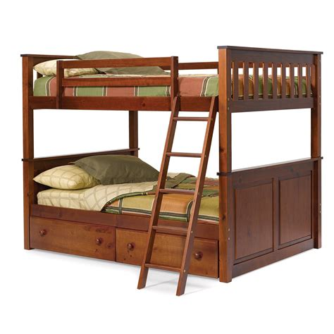 bunk bed with mattresses woodcrest pine ridge full over full bunk bed chocolate
