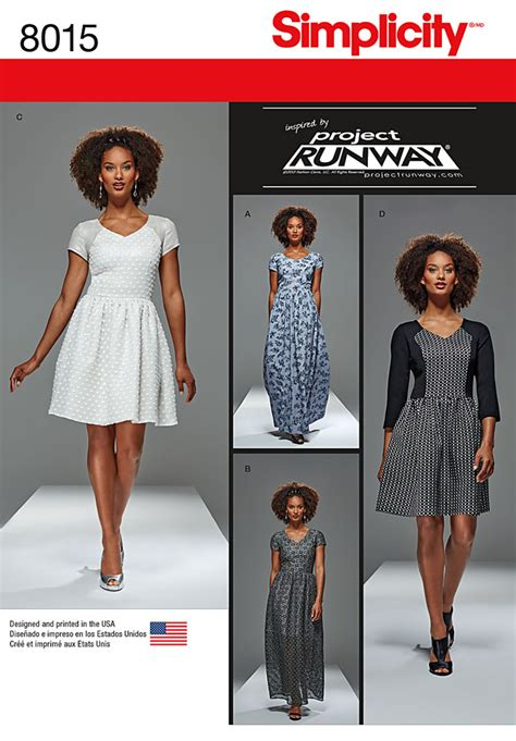 pattern runway dress simplicity 8015 misses and miss petite project runway