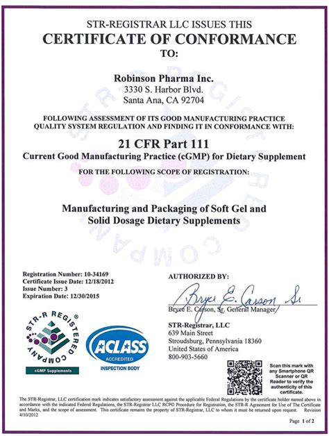 certificate of manufacture template certifications robinson pharma inc