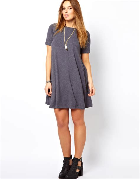 swing short asos swing dress with short sleeves in gray lyst