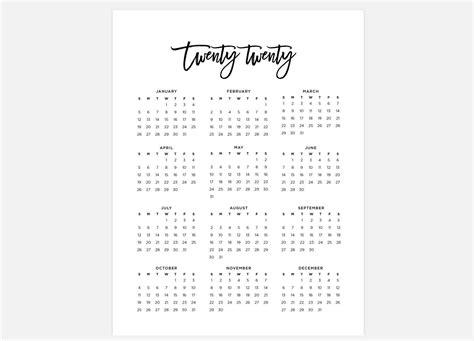 calendar simple calendar  year calendar  etsy