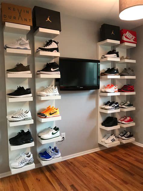 shelves for shoes diy shoe display using ikea lack shelves diy projects in 2019 ikea lack shelves shoe