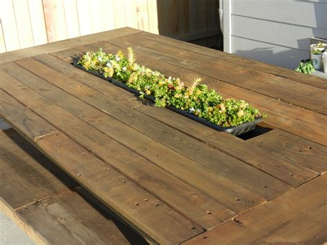 Planter Box Table white outdoor pallet table with recessed planter box diy projects