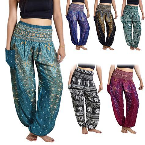 Pant Thai thai harem trousers boho festival hippy smock waist elephant rayon ebay