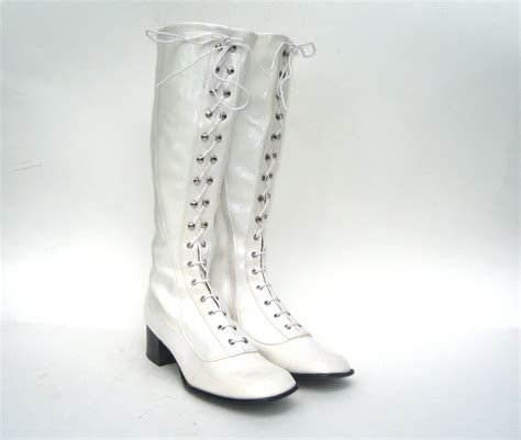 white go go boots 1960s mint white lace up boots white go go boots white
