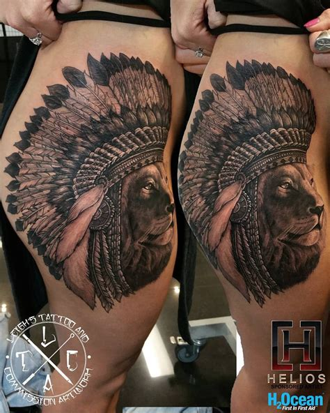 lion headdress tattoo wearing a headdress on s hip thigh best
