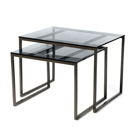 smoked glass table l smoked glass nesting tables calvin klein home touch of