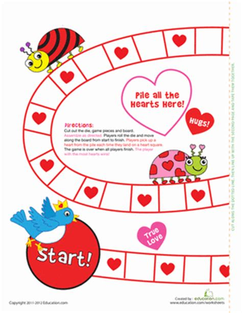 printable board games for kindergarten valentine s day board game worksheet education com