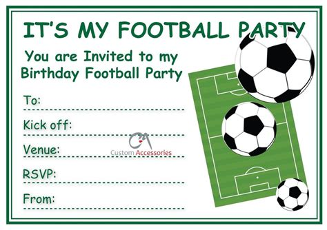 printable birthday invitations soccer theme sports american football themed kids birthday invitation