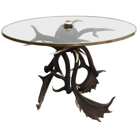 antler table with glass top for sale at 1stdibs