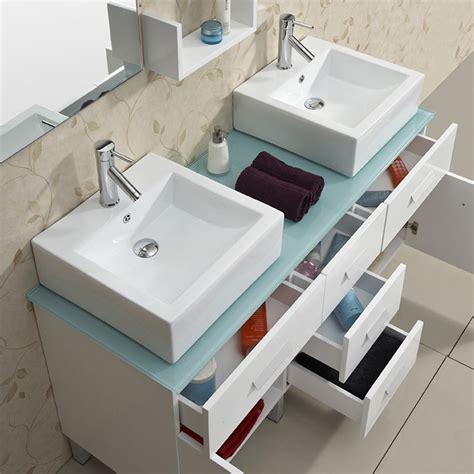 56 bathroom vanity double sink tempered glass top
