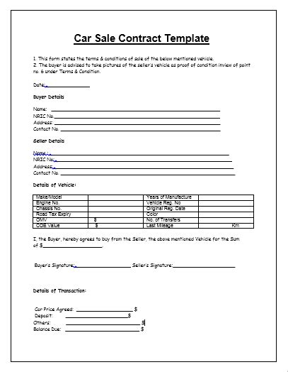 Agreement Letter For Sale Of Car Car Sale Contract Template Tips Guidelines