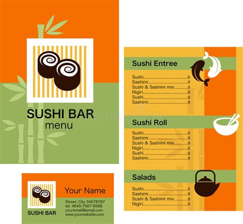Corporate Menu Card Template by Sushi Menu Template And Business Card With Logo Stock