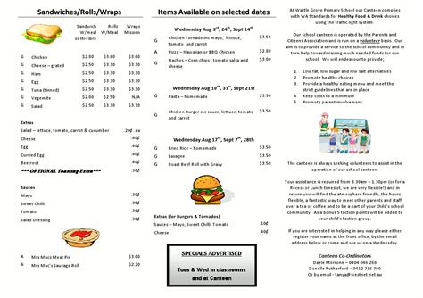canteen menu template wattle grove primary school