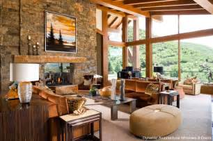 Log Cabin Great Room - rustic wood window wall rustic living room by dynamic architectural windows amp doors