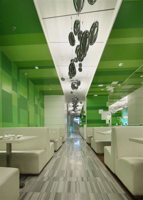 interior green modern restaurant with green blocks interior theme post