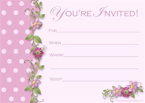 printable invitation card template free printable party invitations templates party