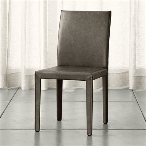 gray leather dining chairs gray armless leather parson dining chair