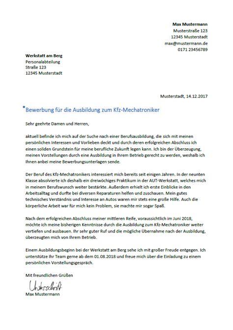 Anschreiben Bewerbung Ausbildung Mechatroniker bewerbung kfz mechaniker ausbildung bewerbung als kfz