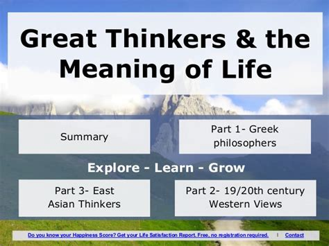 the meaning of section great thinkers the meaning of life