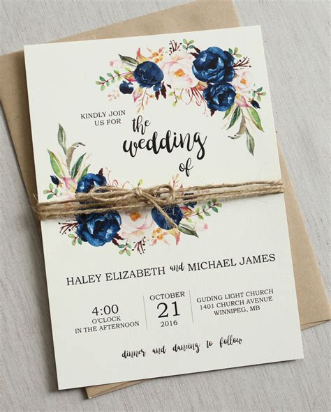 wedding invitations design rustic navy wedding invitation suite modern bohemian