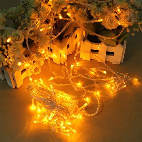 100 Led 10m Yellow String Decoration Light For Christmas Yellow String Lights