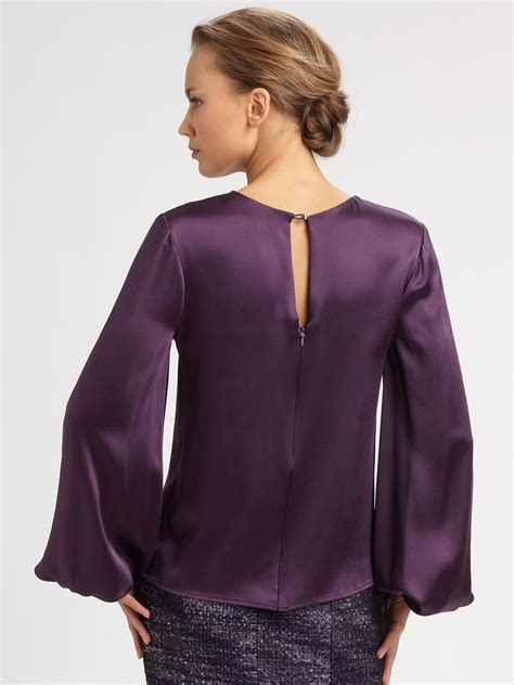 Carolina Blouse carolina herrera silk charmeuse blouse in purple lyst