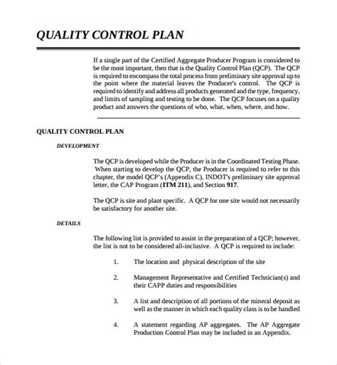 quality control plan template quality assurance process