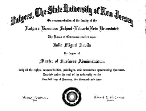 Requirements For Rutgers Mba Program by Diploma Rutgers Diploma